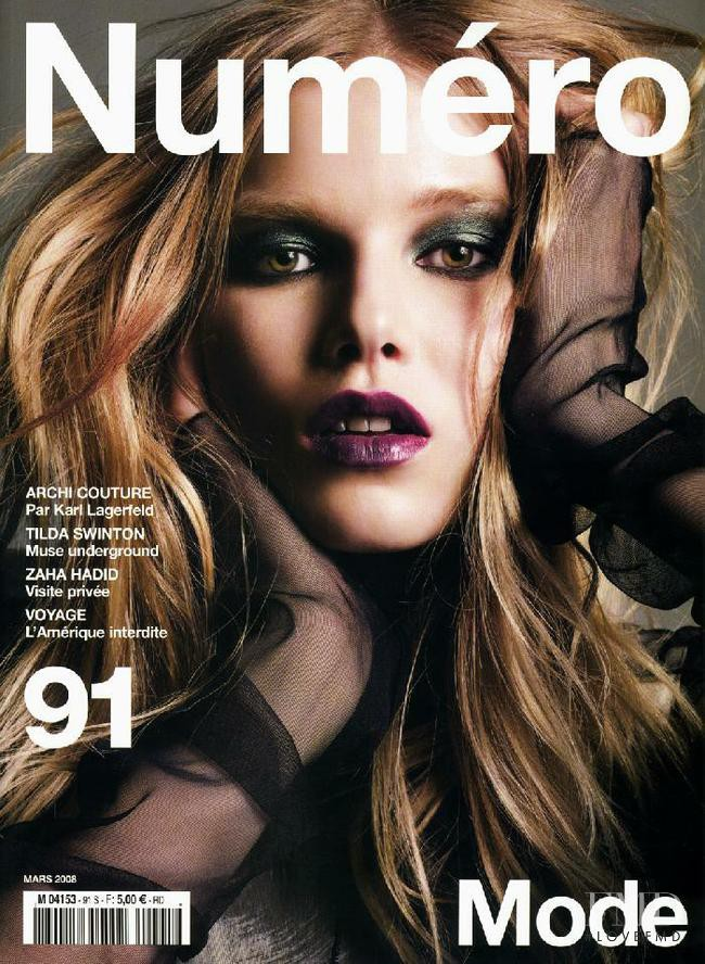 Suvi Koponen featured on the Numéro France cover from March 2008