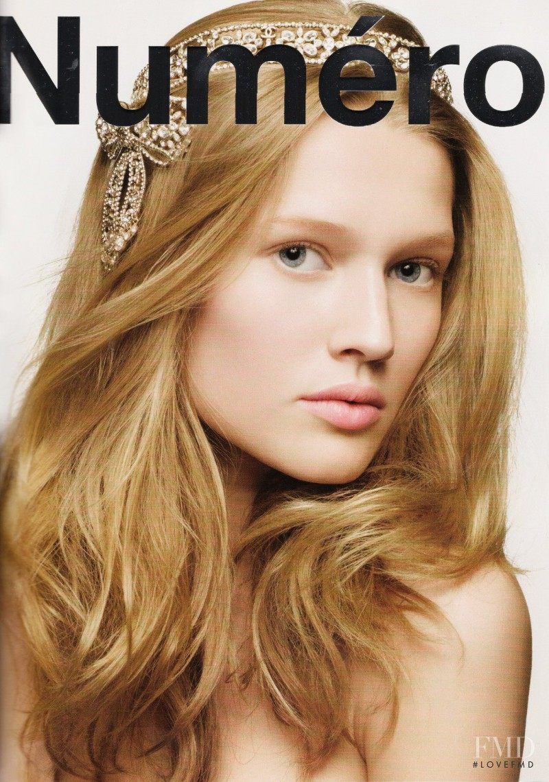 Toni Garrn featured on the Numéro France cover from February 2009