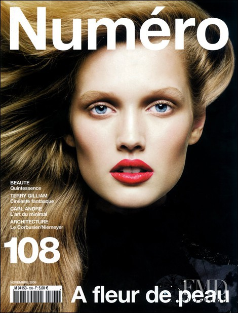 Toni Garrn featured on the Numéro France cover from November 2009