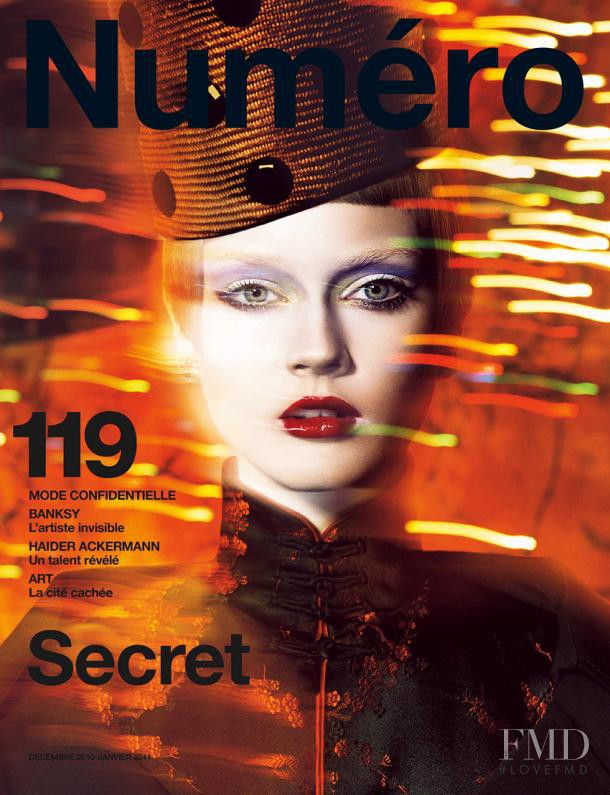 Monika Jagaciak featured on the Numéro France cover from December 2010