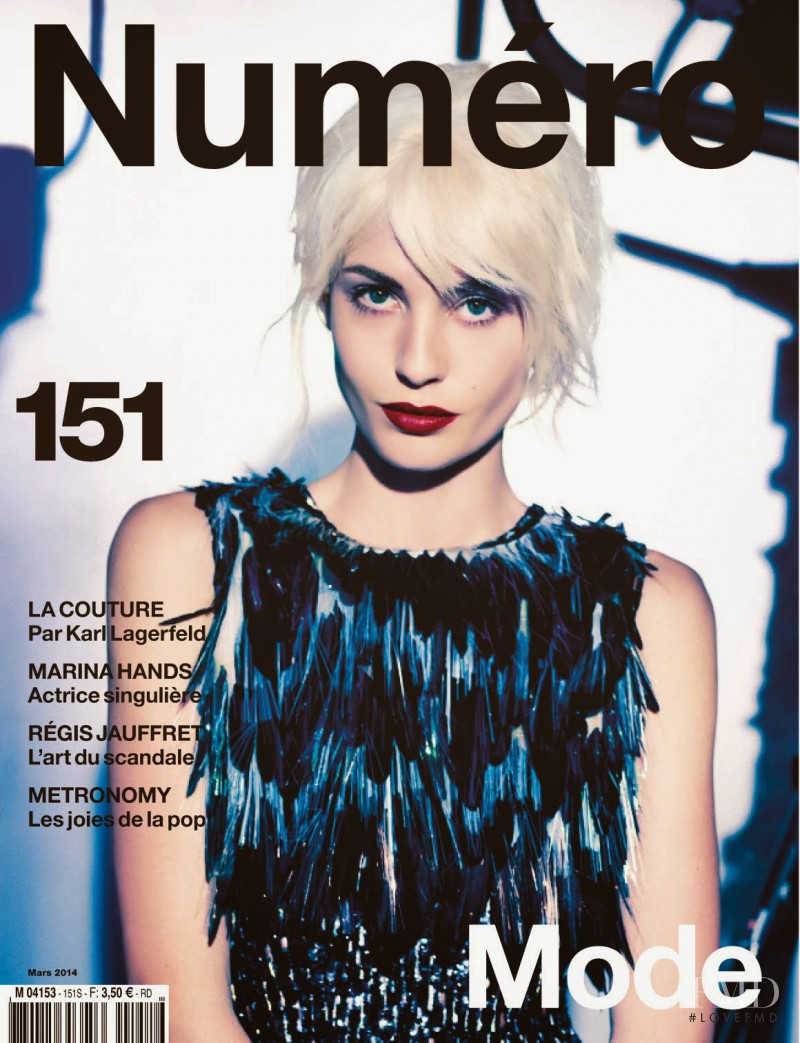 Nadja Bender featured on the Numéro France cover from March 2014