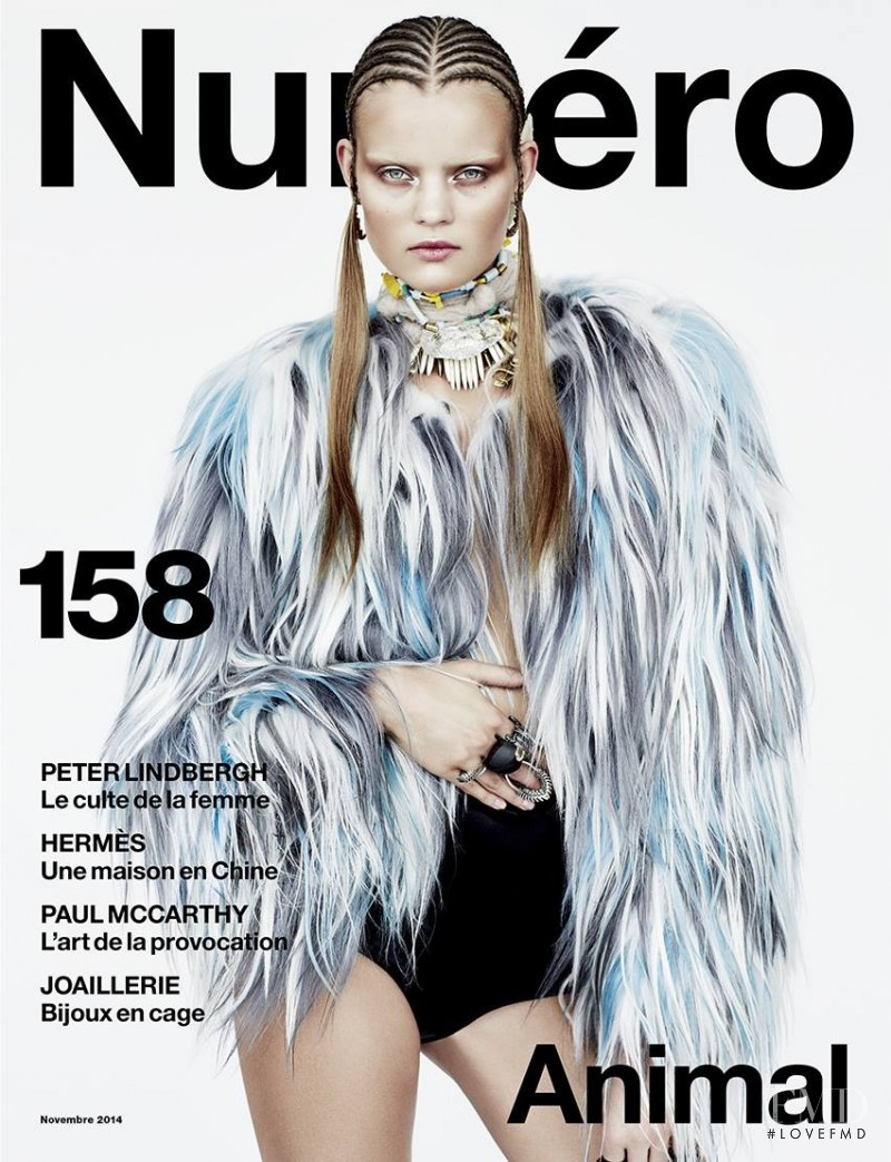 Kate Grigorieva featured on the Numéro France cover from November 2014