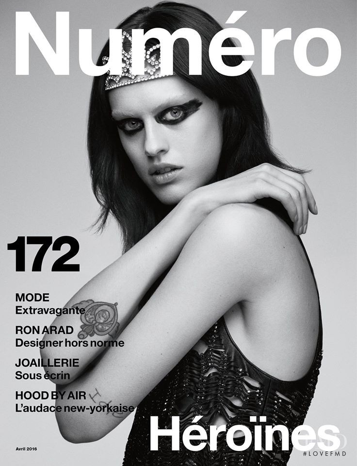 Sarah Brannon featured on the Numéro France cover from April 2016
