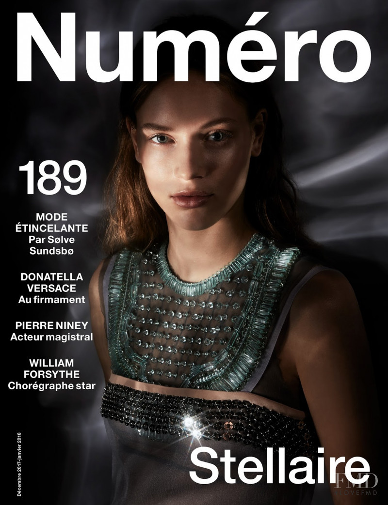 Sarah Dahl featured on the Numéro France cover from December 2017