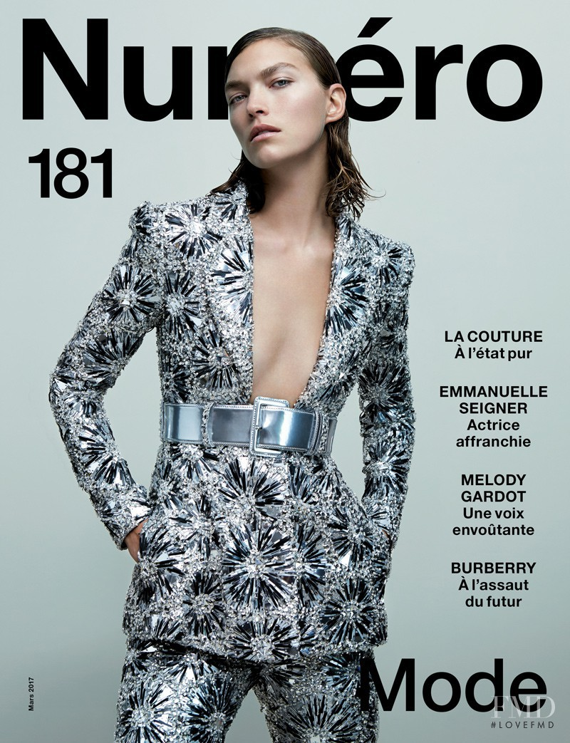 Arizona Muse featured on the Numéro France cover from March 2017