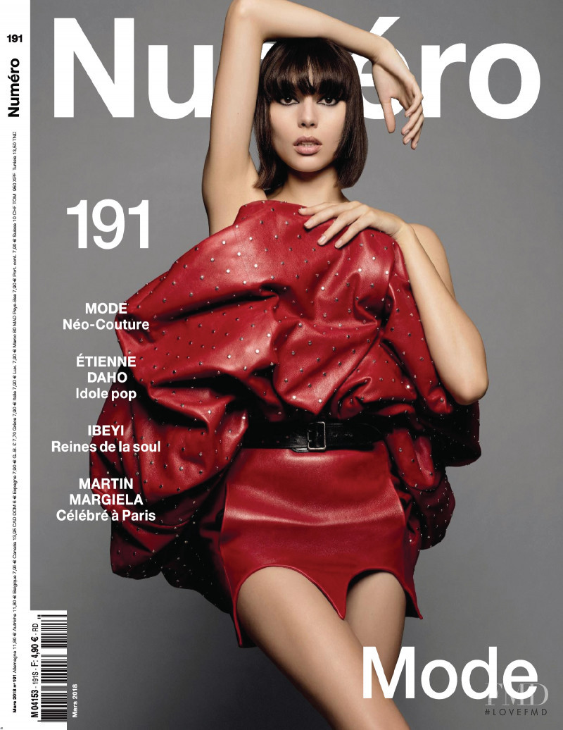 Charlee Fraser featured on the Numéro France cover from March 2018
