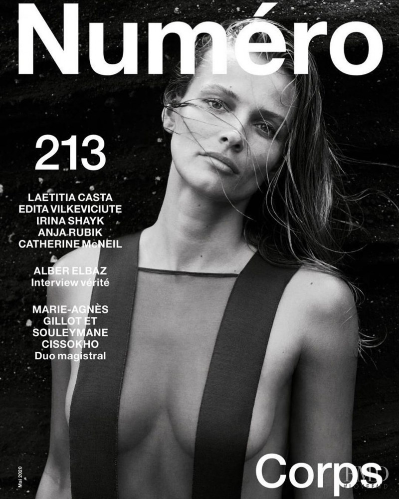 Edita Vilkeviciute featured on the Numéro France cover from May 2020