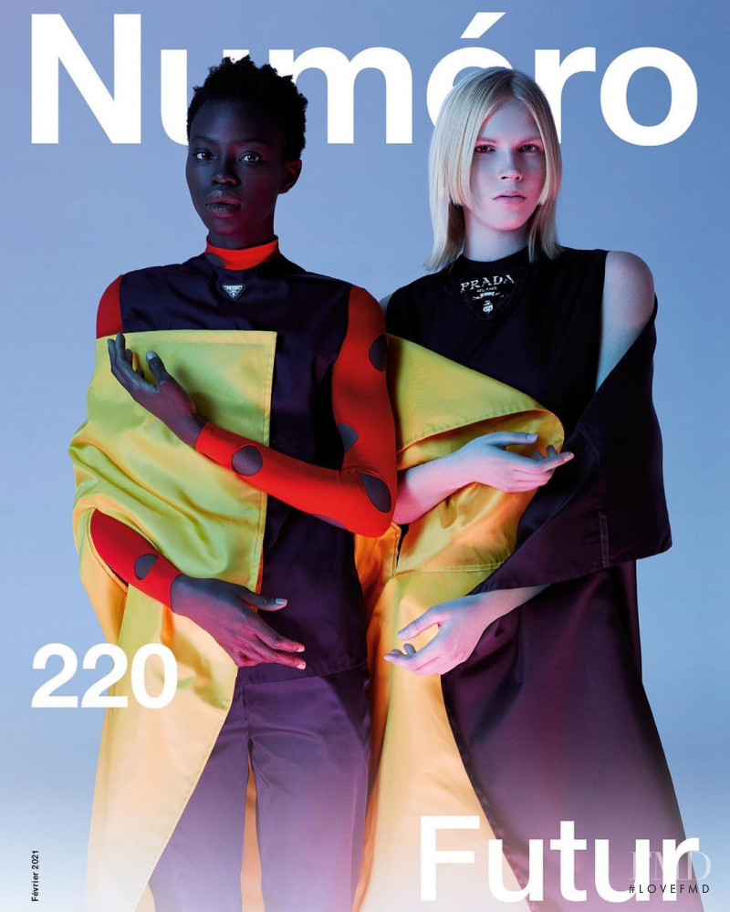 Lydia Kloos, Dija Kallon featured on the Numéro France cover from February 2021