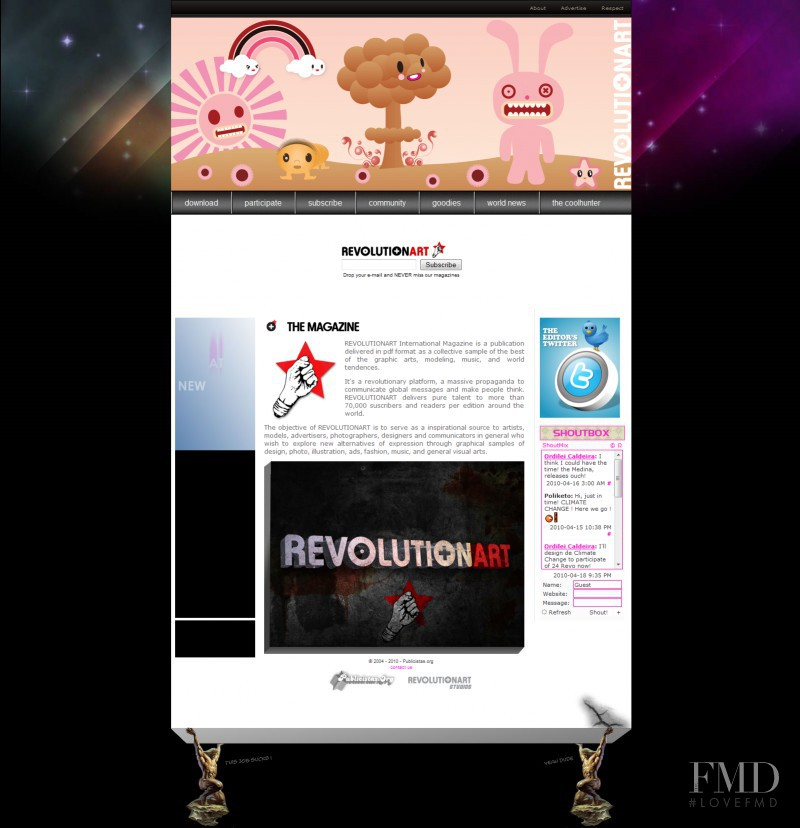 featured on the RevolutionartMagazine.com screen from April 2010