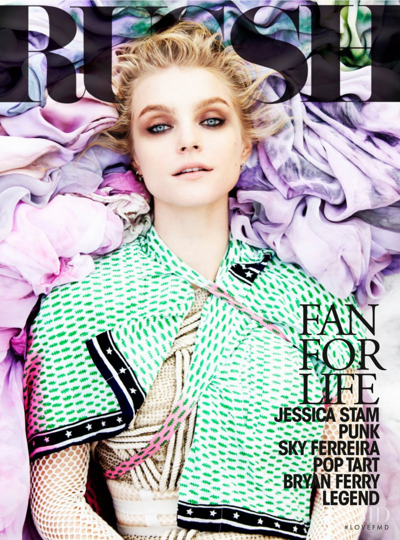 Jessica Stam featured on the Russh cover from April 2011