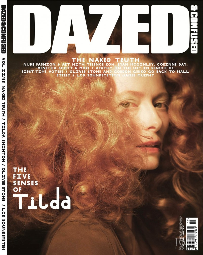 Tilda Swinton featured on the Dazed & Confused cover from May 2010