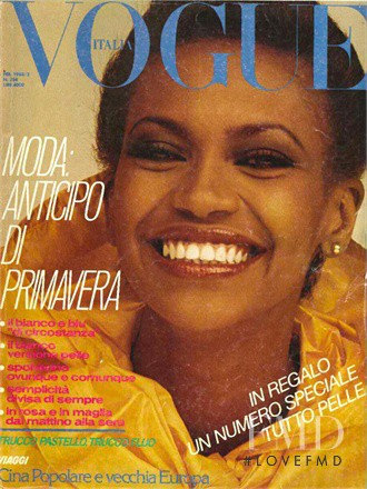 Amalia Vairelli featured on the Vogue Italy cover from February 1980