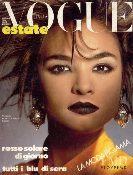 Talisa Soto featured on the Vogue Italy cover from March 1984