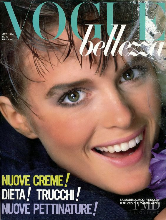 Jacki Adams featured on the Vogue Italy cover from October 1984
