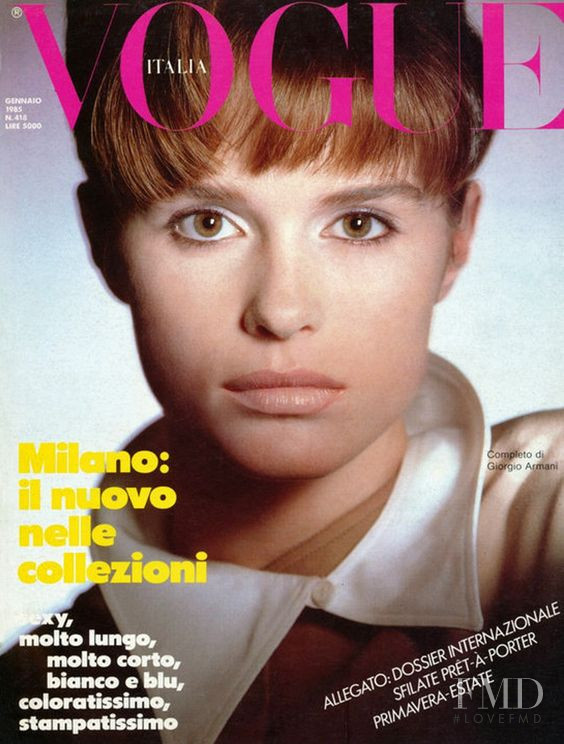 Jacki Adams featured on the Vogue Italy cover from January 1985