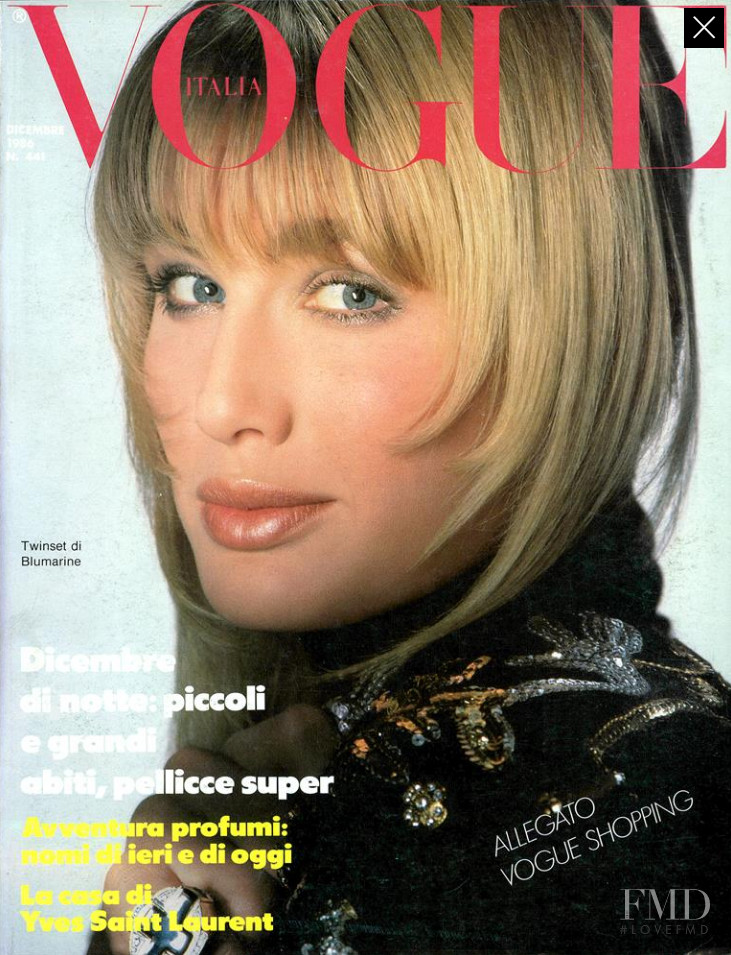 Hunter Reno featured on the Vogue Italy cover from December 1986
