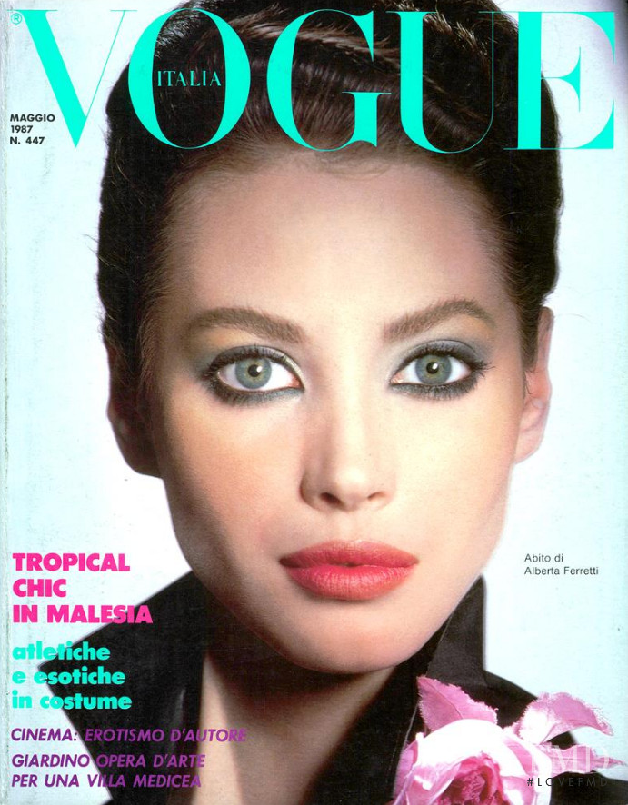 Christy Turlington featured on the Vogue Italy cover from May 1987
