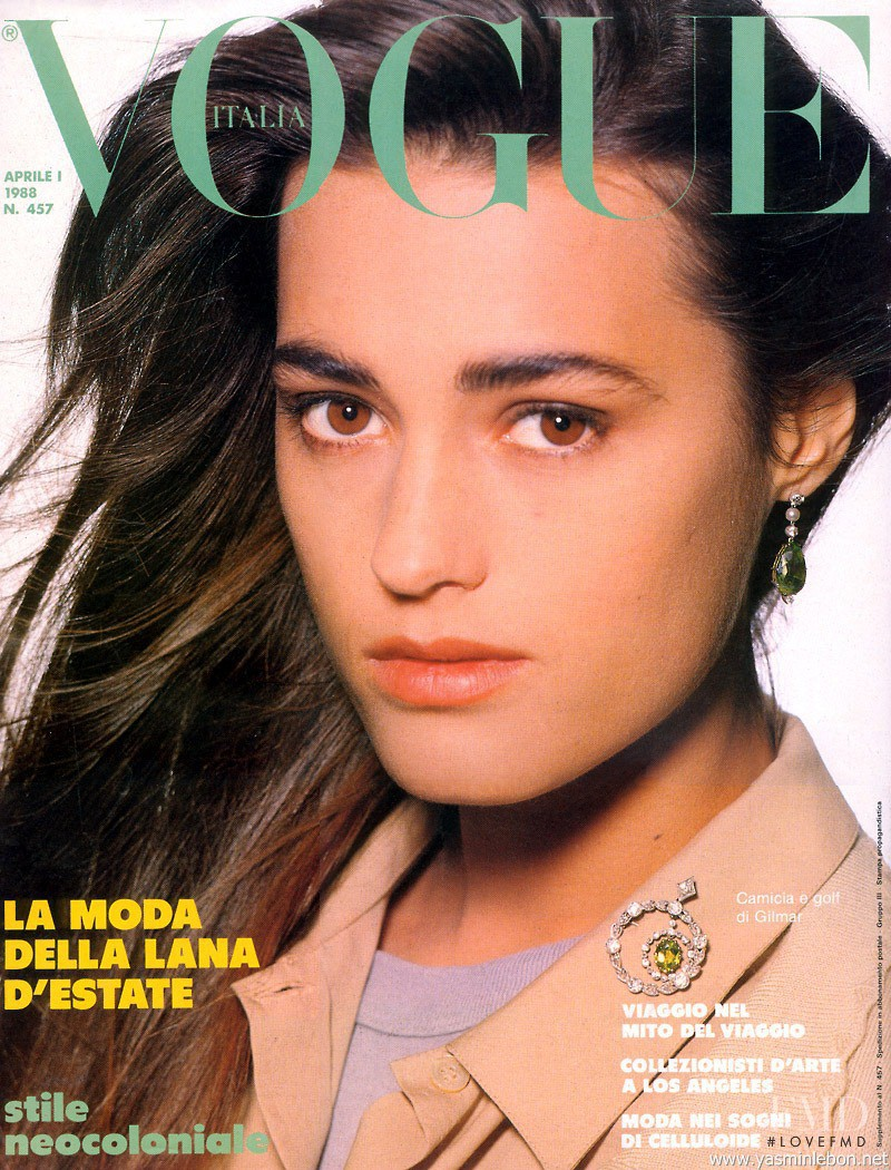Yasmin Le Bon featured on the Vogue Italy cover from April 1988