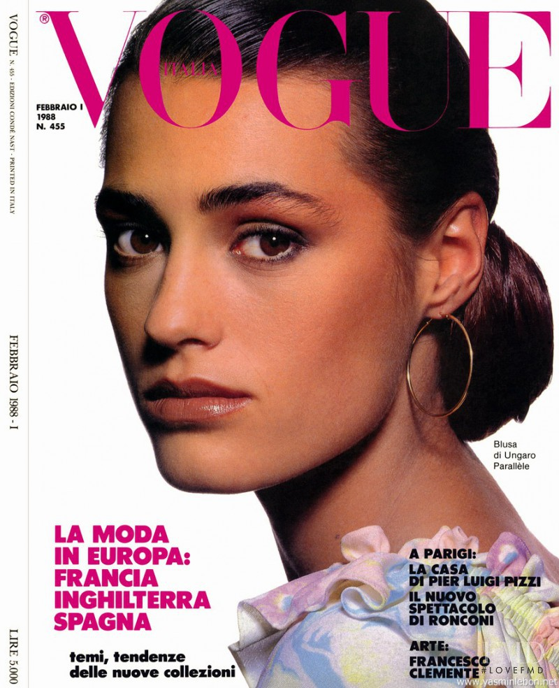 Yasmin Le Bon featured on the Vogue Italy cover from February 1988