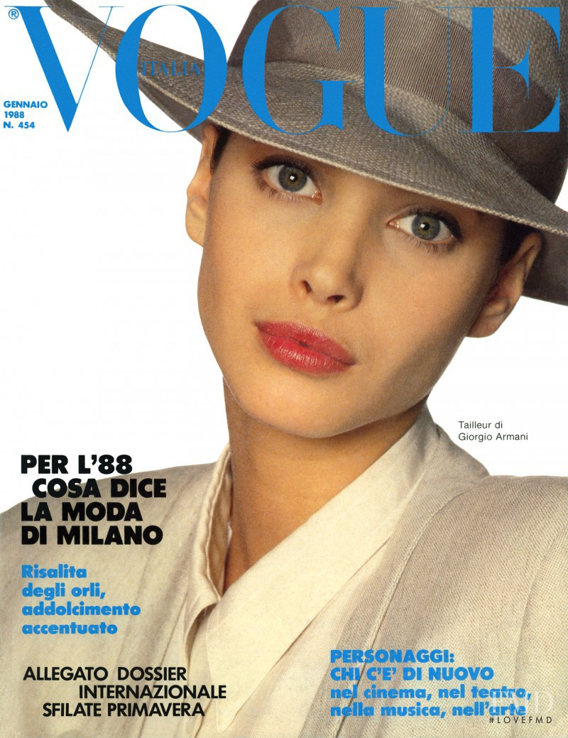 Christy Turlington featured on the Vogue Italy cover from January 1988