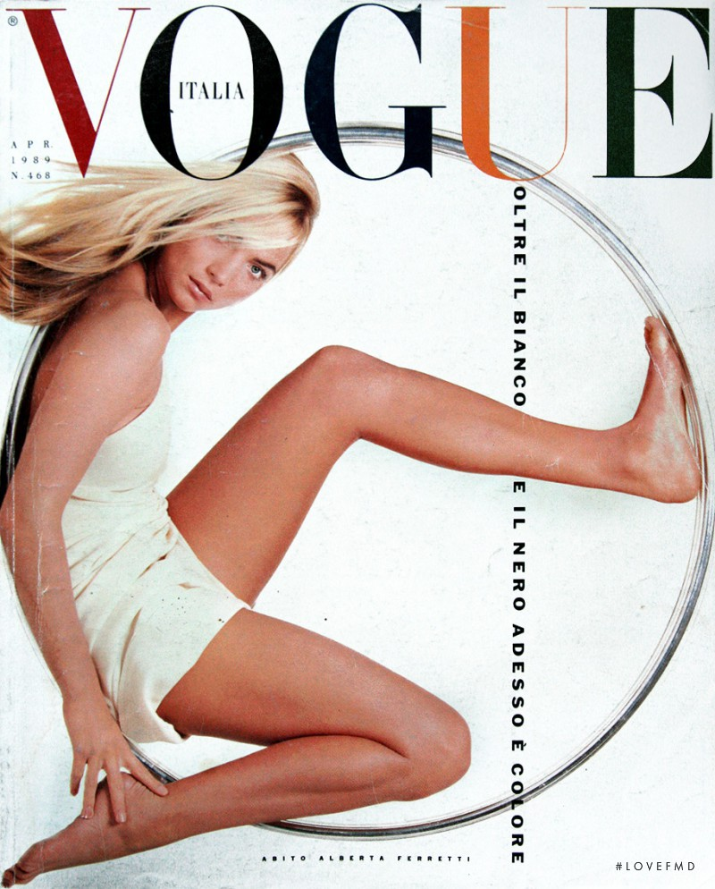 Rachel Williams featured on the Vogue Italy cover from April 1989