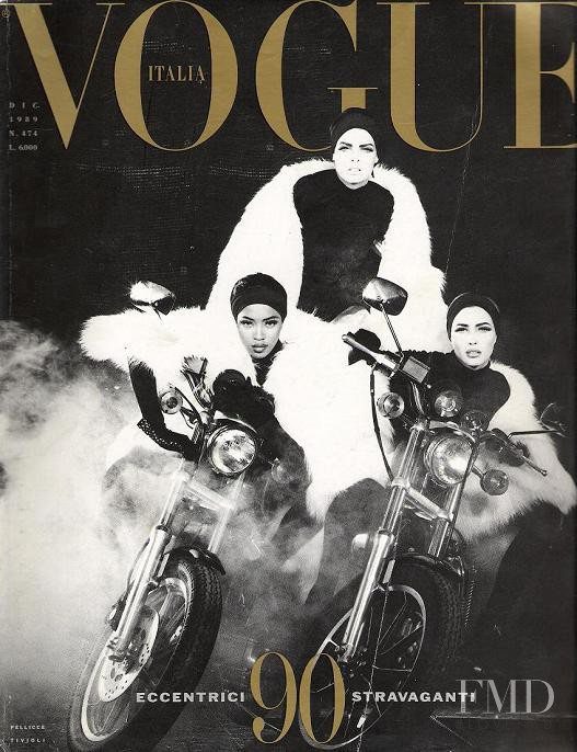 Christy Turlington, Linda Evangelista, Naomi Campbell featured on the Vogue Italy cover from December 1989