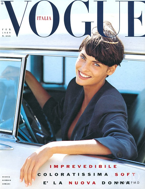 Linda Evangelista featured on the Vogue Italy cover from February 1989