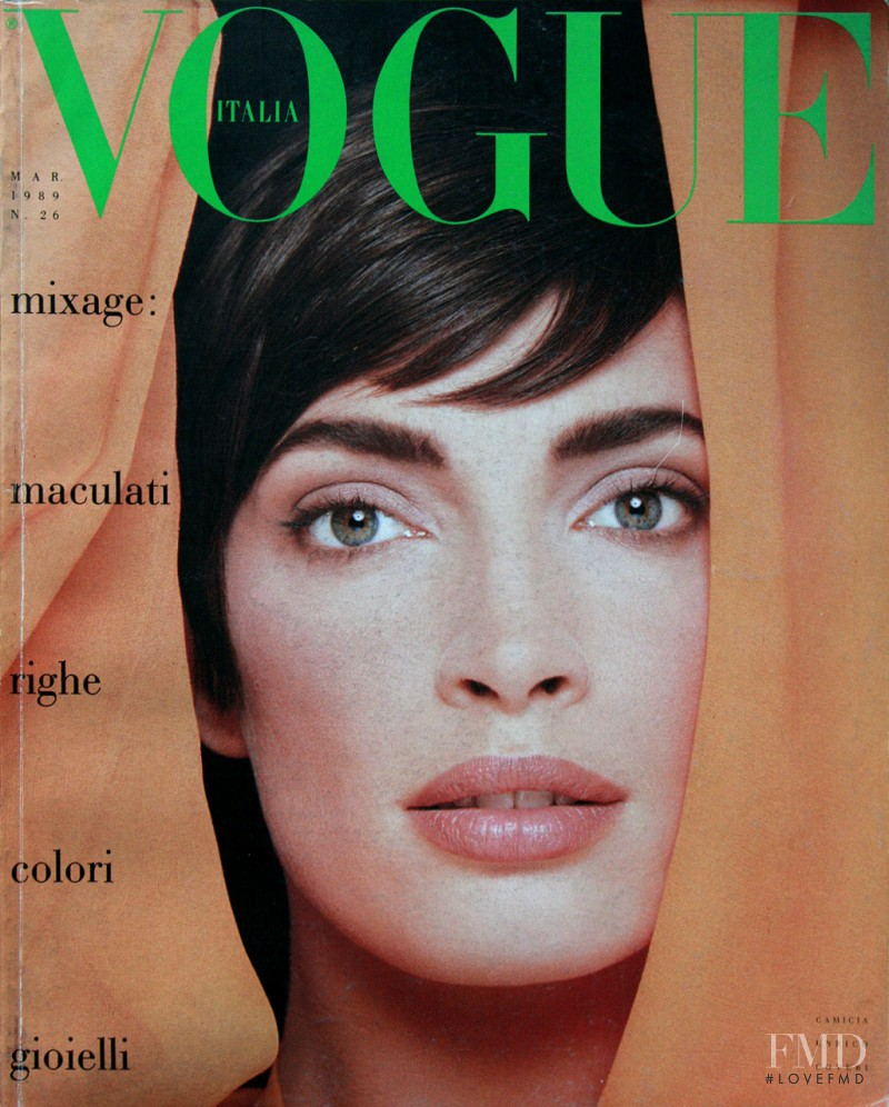 Dana Patrick featured on the Vogue Italy cover from March 1989