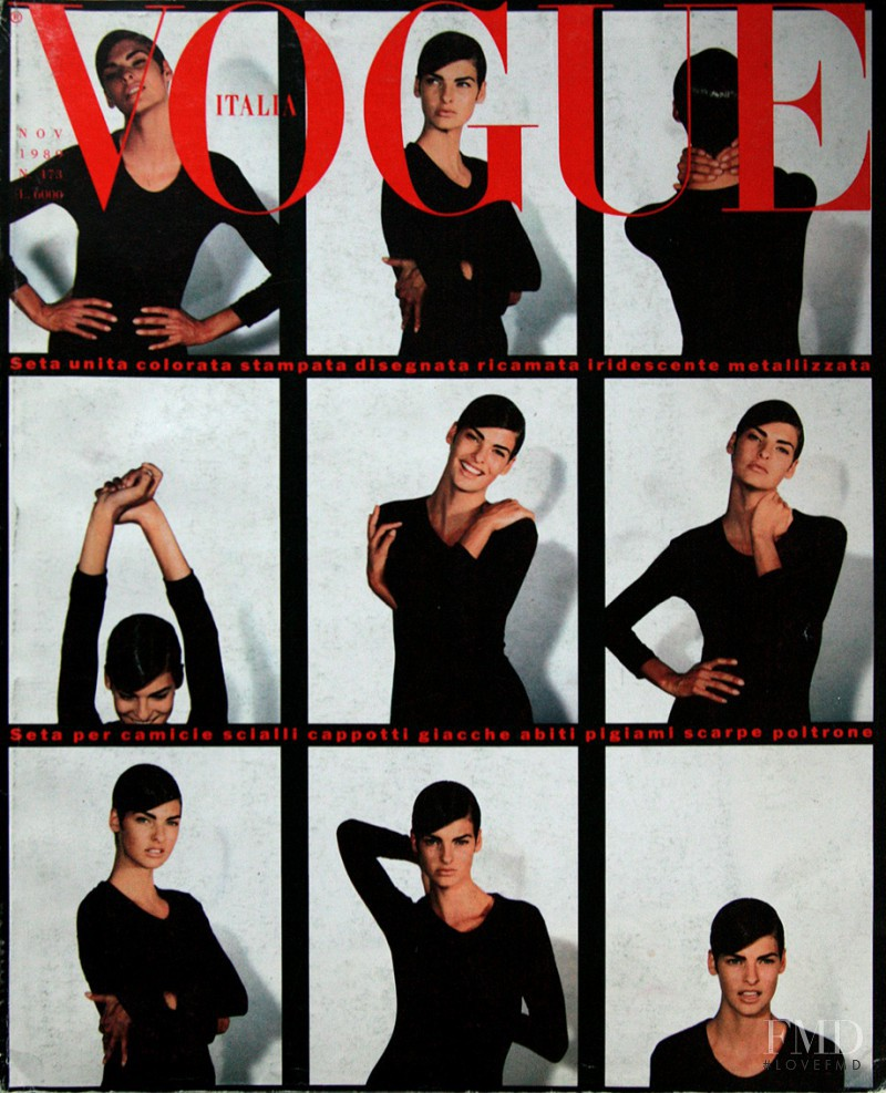 Linda Evangelista featured on the Vogue Italy cover from November 1989