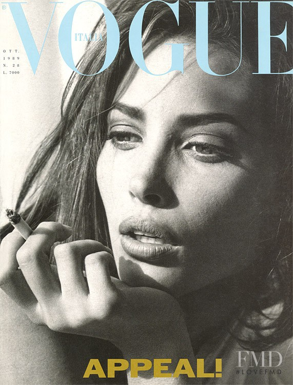 Christy Turlington featured on the Vogue Italy cover from October 1989