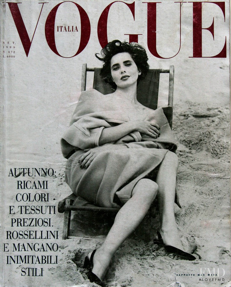 Isabella Rossellini featured on the Vogue Italy cover from September 1989