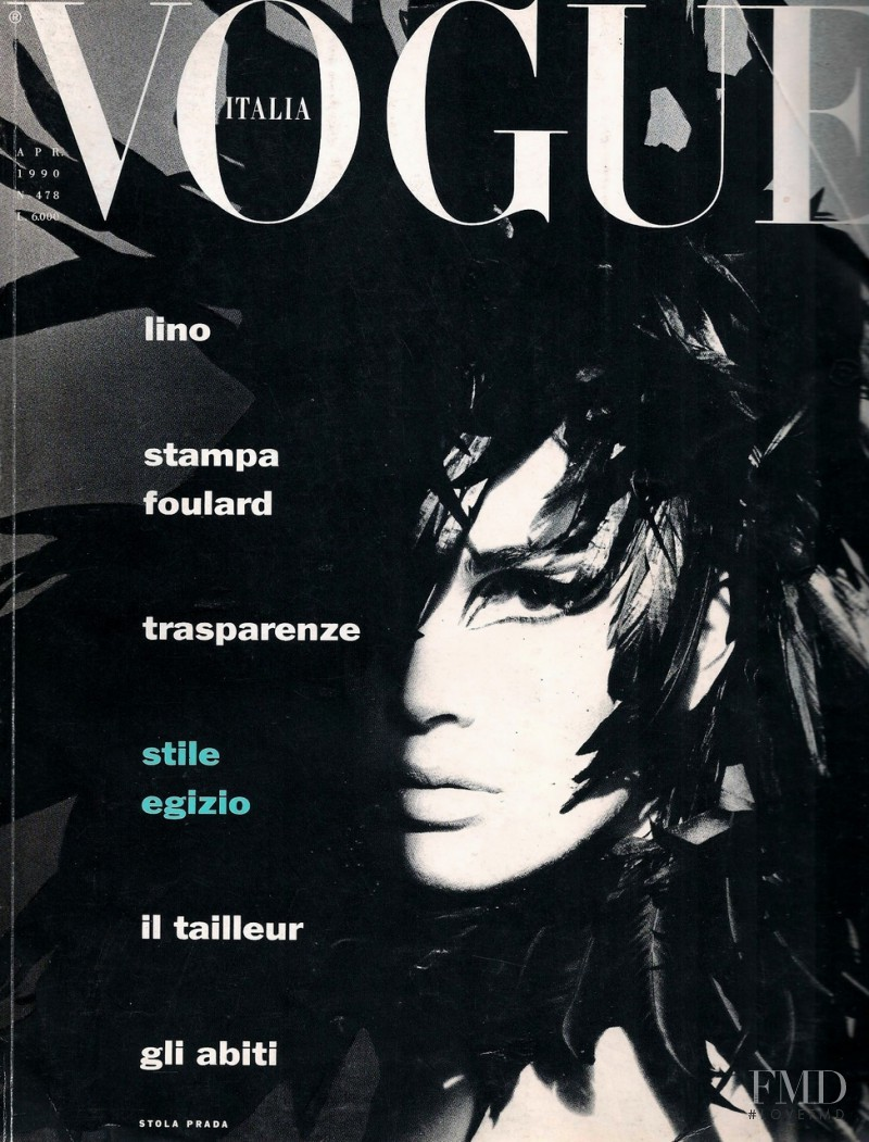 Kim Williams featured on the Vogue Italy cover from April 1990