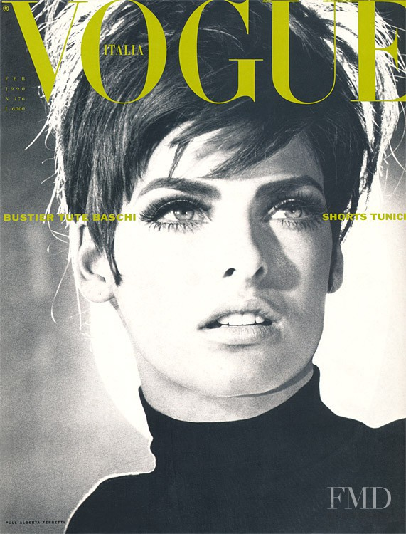 Linda Evangelista featured on the Vogue Italy cover from February 1990