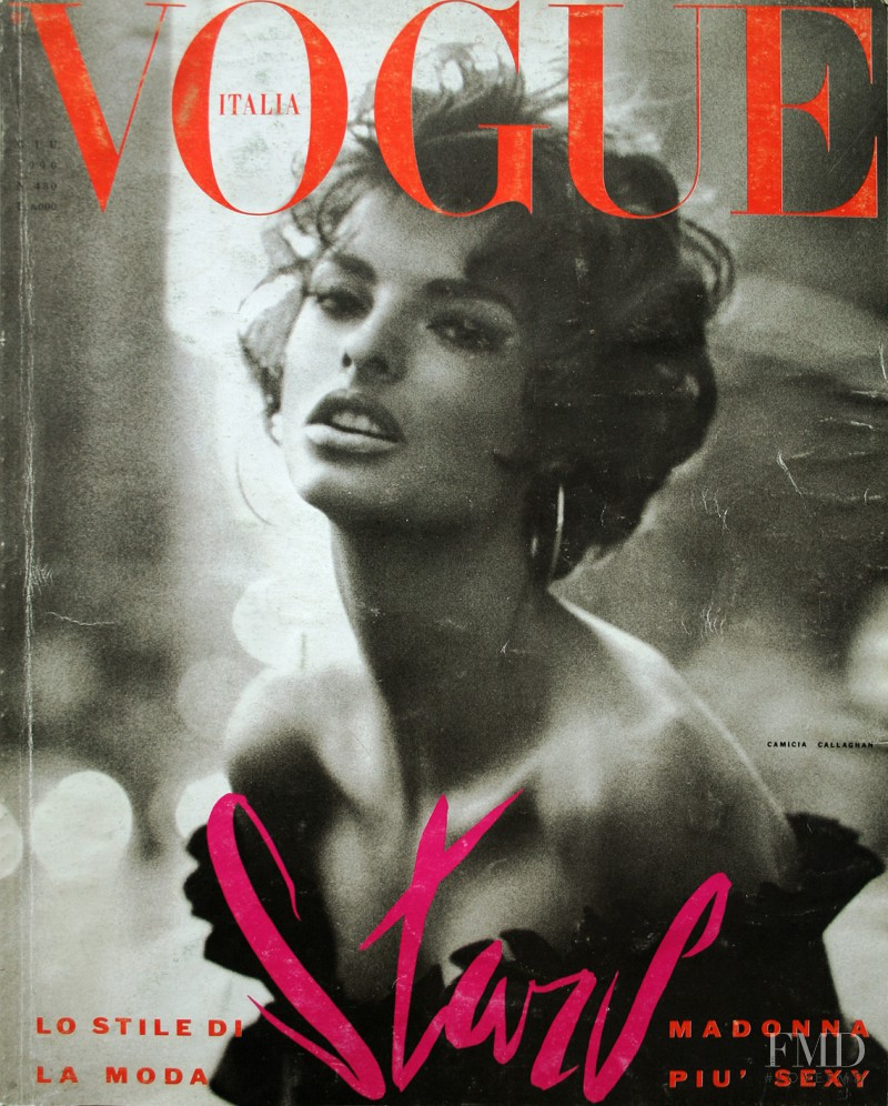 Linda Evangelista featured on the Vogue Italy cover from July 1990