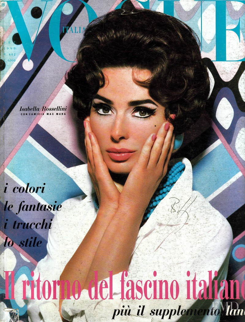 Isabella Rossellini featured on the Vogue Italy cover from September 1990