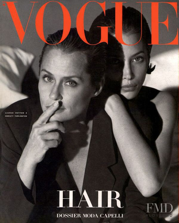 Lauren Hutton featured on the Vogue Italy cover from April 1991