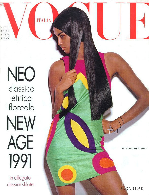 Yasmeen Ghauri featured on the Vogue Italy cover from January 1991
