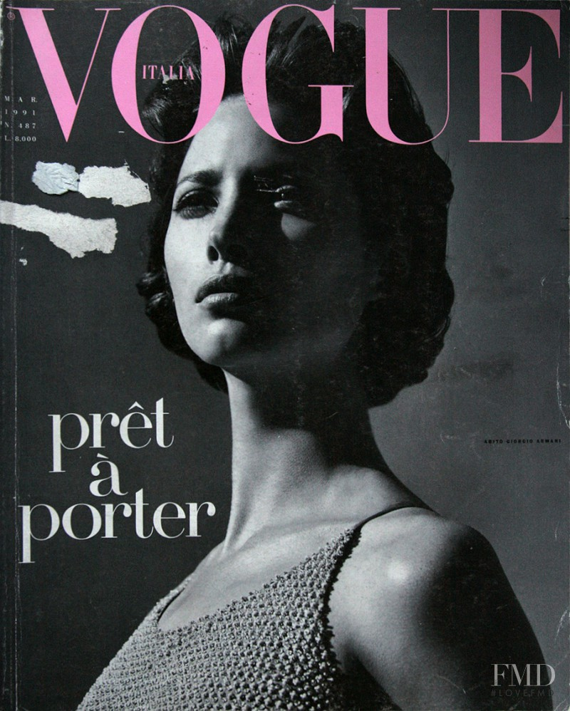 Christy Turlington featured on the Vogue Italy cover from March 1991