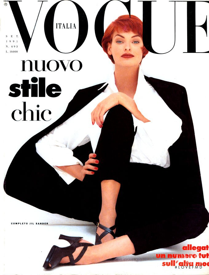 Linda Evangelista featured on the Vogue Italy cover from September 1991