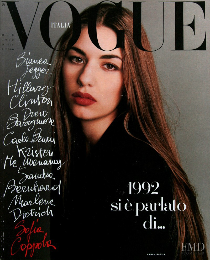Sofia Coppola featured on the Vogue Italy cover from December 1992