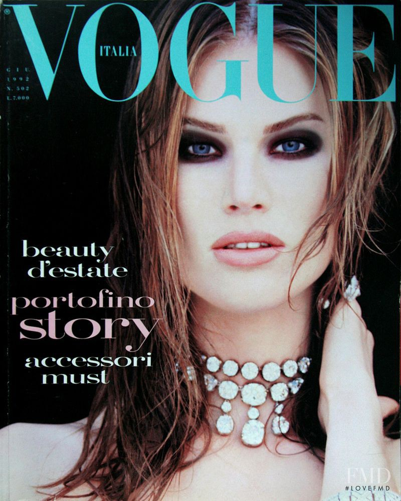 Meghan Douglas featured on the Vogue Italy cover from June 1992