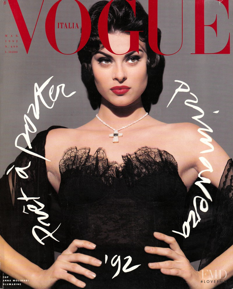 Magali Amadei featured on the Vogue Italy cover from March 1992