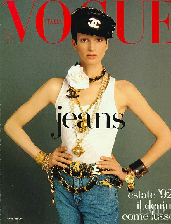 Kristen McMenamy featured on the Vogue Italy cover from May 1992