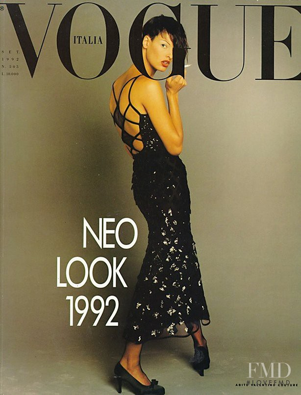 Linda Evangelista featured on the Vogue Italy cover from September 1992