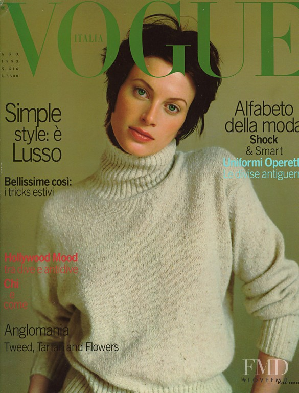 Kristen McMenamy featured on the Vogue Italy cover from August 1993