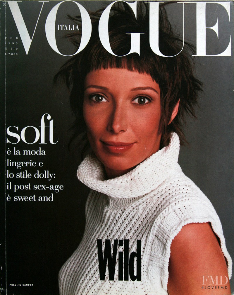 Camilla Nickerson featured on the Vogue Italy cover from February 1993