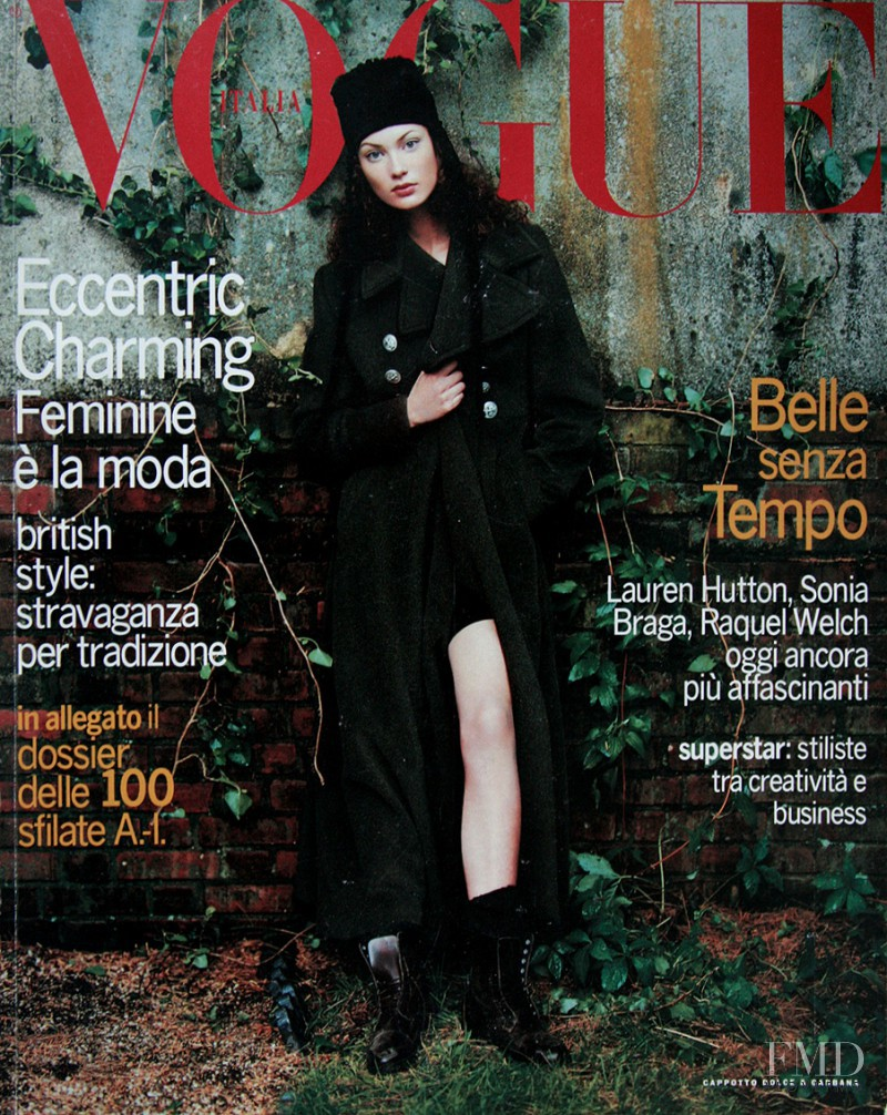 Shalom Harlow featured on the Vogue Italy cover from July 1993