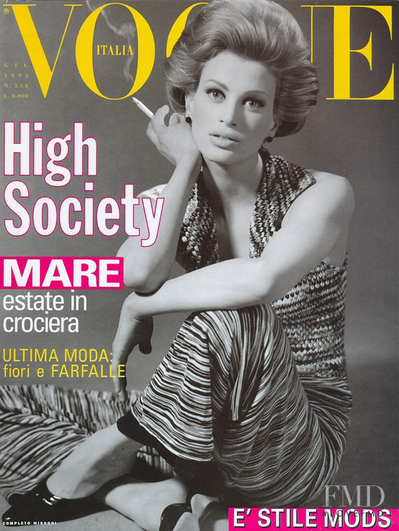 Kristen McMenamy featured on the Vogue Italy cover from June 1993