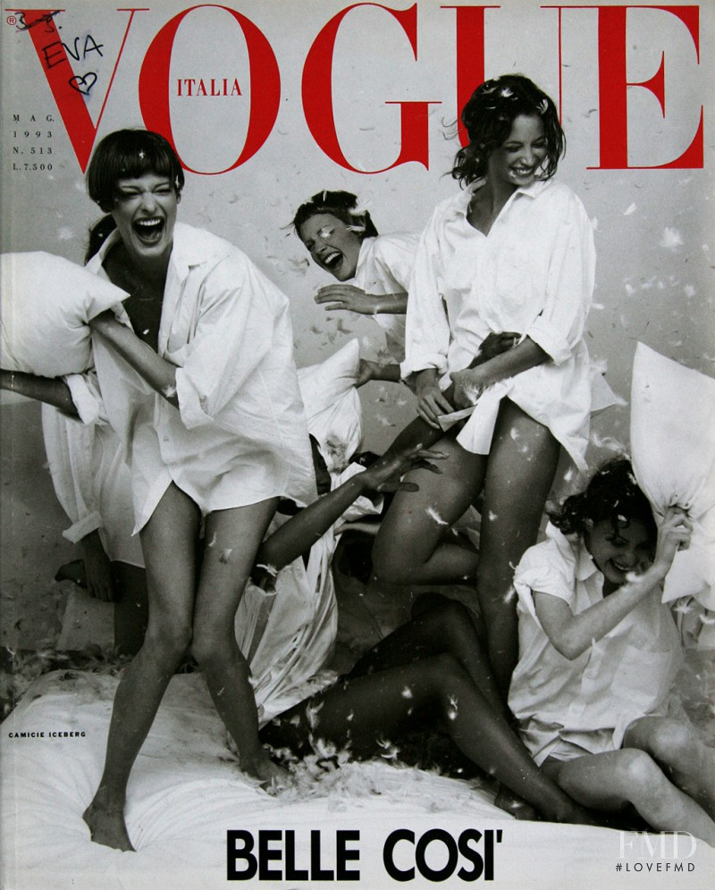 Amber Valletta, Christy Turlington, Linda Evangelista, Naomi Campbell, Shalom Harlow featured on the Vogue Italy cover from May 1993