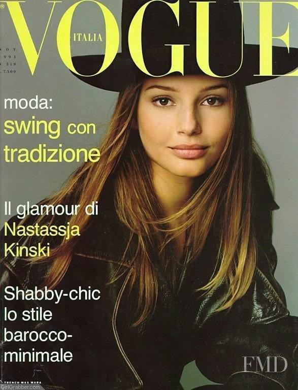 Bridget Hall featured on the Vogue Italy cover from November 1993